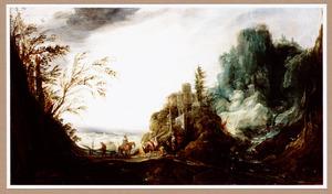 Rotsachtig landschap met een waterval en figuren op brug