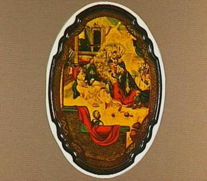 Beschilderd tafelblad met voorstelling van de Aanbidding der Koningen