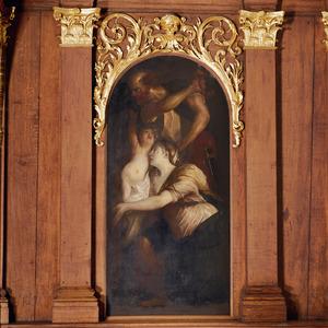 Salomo's oordeel: de beul staat op het punt  het levende kind te doden, de valse moeder spoort hem aan  (1 Koningen 3:24-25)