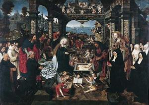 De geboorte met Margriet Dirck Boelensdr. en haar familie, de HH. Andreas en Margaretha