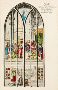 De koningin van Seba bezoekt koning Salomo (1 Koningen 10), met onder een portret van schenkster Elburga van den Boetzelaer, abdis van het klooster bij Rijnsburg
