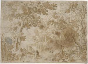 Boslandschap met de badende Diana, bespied door saters