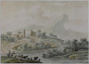 Heuvellandschap met herder en vee bij rivier