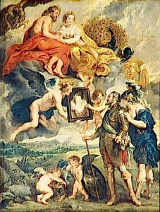 Minerva toont koning Hendrik IV van Frankrijk het portret van Maria de' Medici spinnen