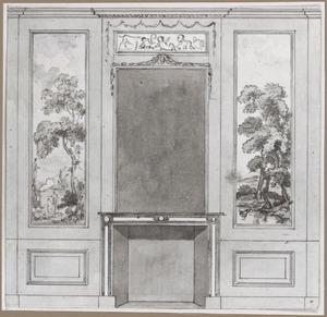 Achterwand met twee behangselvlakken ter weerszijden van een schoorsteen