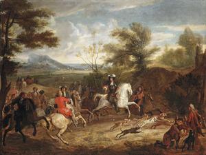 Landschap met een elegant jachtgezelschap te paard