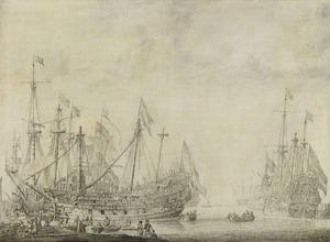 Nederlandse schepen (de 'Brederode', de 'Rosencrantz' en de 'Aemilia') na de zeeslag bij Portland van februari 1653 voor reparatie in een haven van Hellevoetsluis