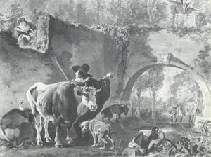Herder met kudde bij een ruïne