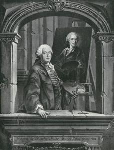 Portret van hofschilder Georg des Marées (1697-1776) bij het schilderen van de kunstenaar Christian Winck