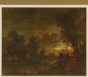 Rivierlandschap met huizen en molen bij maanlicht