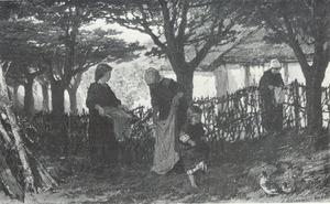 Wasvrouwen in de tuin