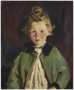 Meisje in groene jas afgezet met bonten kraag / Portret van Mary MacNamara