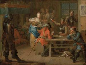 Kaartende soldaten in een herberg