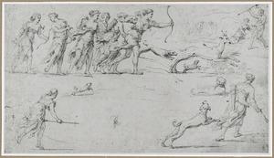Diana en gezellinnen tijdens de hertenjacht