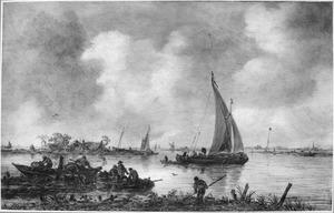 Een riviergezicht met vissers bij een landtong