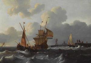 Nederlandse schepen in woelig water bij een Nederlands dorp