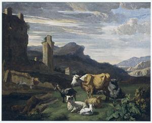 Zuidelijk landschap met vee voor een stadsmuur