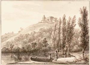 Figuren bij het meer van Albano, in de verte Castelgandolfo