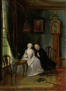 'De wanhebbelijke liefde', misschien de scène van Joost bij Lucia uit het stuk van C.J. van der Lijn