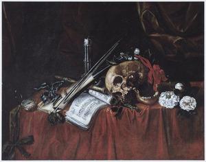 Vanitasstilleven met schedel, muziekinstrumenten, bloemen en horloge