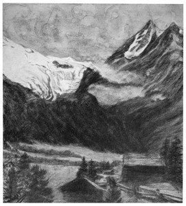 Gezicht op den gletsjer van Ferpècle