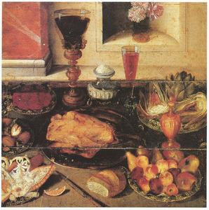 Stilleven van gevogelte, suikerwerk en vruchten, voor een nis met bloemstuk