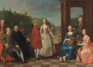 Portret van Jacques-Jean Cremers (1736-na 1803) en zijn vrouw Anna-Maria-Lucia Heerkens (1737-1801), dansend op een tuinterras omringd door musicerende familieleden