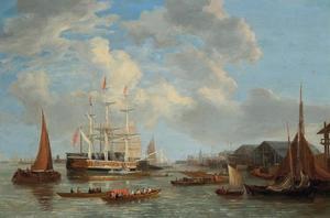 Royal Sovereign voor anker bij Deptford met Konig George IV