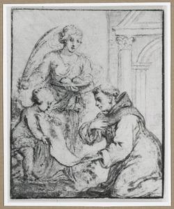 H. Agahta en knielende monnik