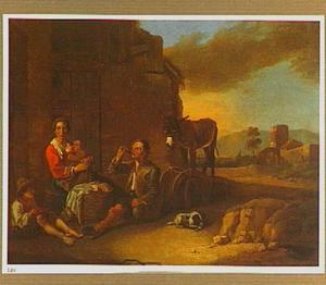Boerenfamilie voor een huis in een zuidelijk landschap