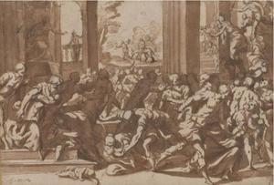 De kindermoord te Betlehem;op de achtergrond: de vlucht naar Egypte