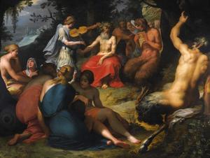 De wedstrijd tussen Apollo en Pan met het oordeel van Midas