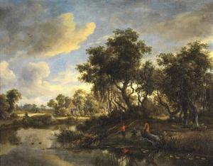Zonnig landschap met boerderij en vissers aan een poel