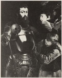 Portret van een onbekende krijgsman met twee pages, mogelijk als de H. George
