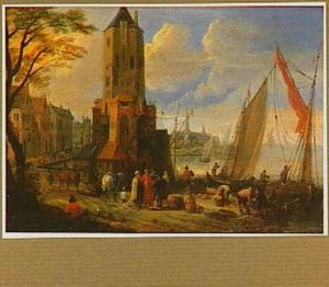 Havengezicht met het laden en lossen van schepen bij een toren