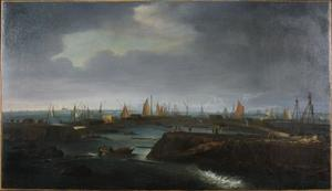 Herstelwerkzaamheden aan de Zuiderzeedijk bij Schardam na de Allerheiligenvloed van 1675; in het verschiet de stad Hoorn