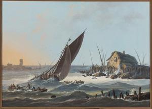 Gezicht op de rivier de Taag in Portugal  met vaartuigen op een ruwe zee