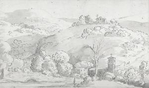 Italiaans landschap met een kerk omring door bomen