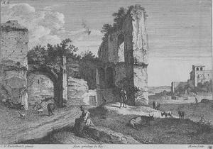 Arcadisch landschap met ruïne