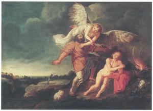 De engel weerhoudt  Abraham om Isaak te offeren (Genesis 22:10-12)