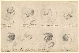 Portretten van leden van de Schildersbent in Rome: Nicolaas Lambertus van Royen (?-1622), Nicolaas Régnier (ca. 1590-1667), Cornelis van Poelenbuch (1594/'95-1667), Pieter Hartman (?-1624), Jan van Bijlert (1597/'98-1671), Joost Jasper Meilinck (?-1627), Hendrik Munniks (?) en 'Den Deytsch' (ongeïdentificeerd)