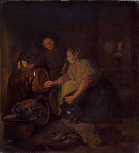 Kelderinterieur met een vrouw die wijn tapt uit een ton, een jonge man kijkt toe