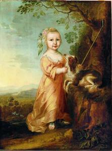 Meisje als herderin gekleed met een schoothondje in een landschap