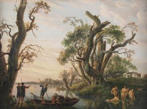 Landschap met baders en vissers bij zonsondergang