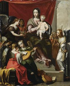 Maria met het kind aanbeden door engelen