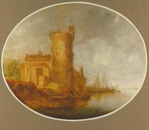 Rivierlandschap met vissers bij een vervallen toren