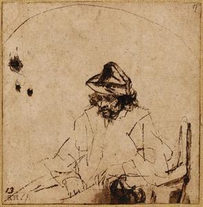 Zittende man met hoed