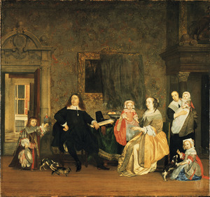 Portret van de familie van Jan Jacobsz. Hinlopen (1626-1666) en Leonora Huydecoper (1631-1663)