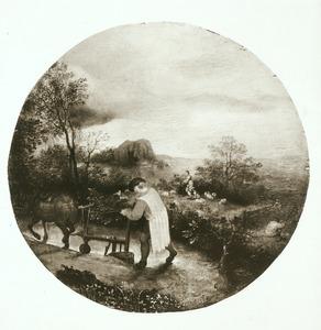 Landschap met een ploegende boer