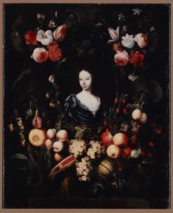 Portret van een vrouw in een stenen cartouche omringd door bloemen en vruchten